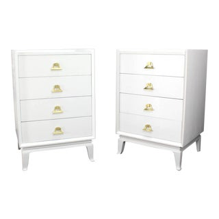 Mid-Century Modern White Lacquer Brass Pulls High Chest Stands - a Pair For Sale