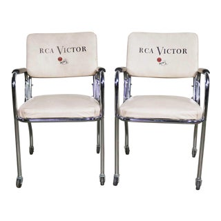 Vintage Pair Art Deco Streamline Modern Rca Victor Advertising Chairs by Chromcraft For Sale