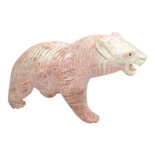 Mid-Century Modern Pale Pink Marble Polar Bear Sculpture, Animal Sculpture, 1970 For Sale