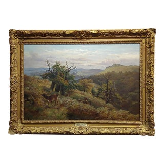 Clarence Henry Roe -Deer Feeding in Highlands Landscape-Oil Painting C.1872 For Sale