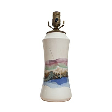 Vintage Hourglass Glaze Drip Ceramic Lamp - Image 1 of 6
