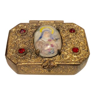 1920s Religious Ormolu Saint Snuff Box For Sale