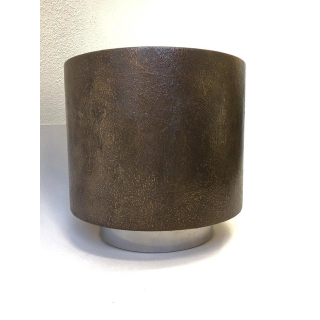 Contemporary Bronze and Polish Stainless Steel Drum Side Table by Steve Chase For Sale - Image 3 of 8