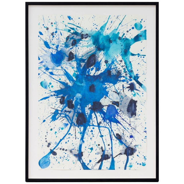 """Beautiful abstract framed Gouache and watercolor on paper piece entitled Splash 2007.10 2007, USA. Framed measurement: 57""""..."""