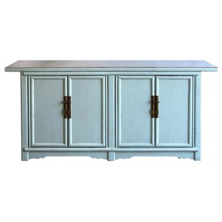 Asian Modern Baby Blue Lacquer Sideboard For Sale