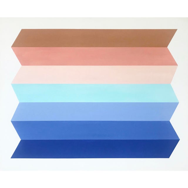 "Natasha Mistry ""Terracotta Sky"" Origami Acrylic Painting For Sale"