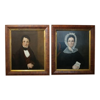 American Folk Art -Portraits of Husband & Wife - Pair of Original Oil Paintings-1834 Oil paintings on canvas - signed and dated