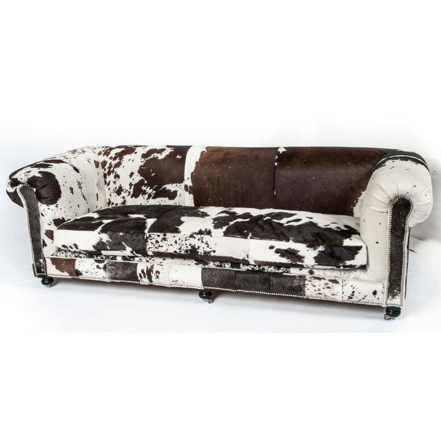 Cowhide Sofa with Nailhead Trim - Image 2 of 5