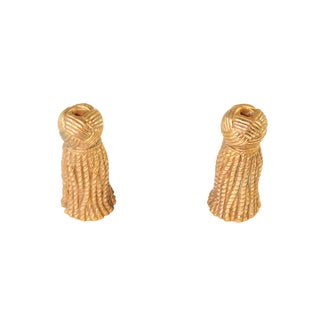 1970s Hollywood Regency Plaster Rope & Tassel Taper Candlestick Holders in Gold Leaf - a Pair For Sale