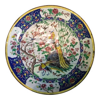 Mid 20th Chinese Hand Painted Roses Enamel Copper Metal Round Dish For Sale
