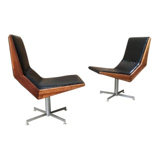 Mid-Century Modern Walnut Framed Swivel Chairs - a Pair For Sale