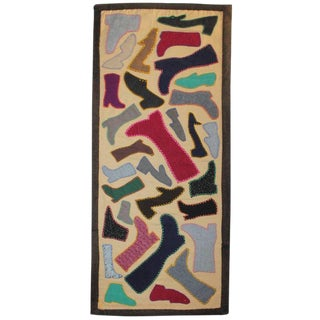 Folk Art Boots and Shoes Wool Mounted on Frame Table Runner For Sale