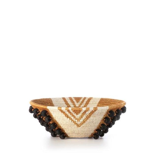 Textile Envelope Medium Basket Ochre/cream/black For Sale - Image 7 of 7