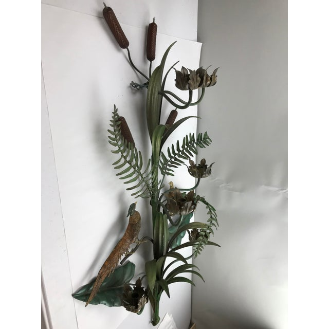 Green Vintage Italian Tole Wall Candle Sconce Pheasants Ferns Cattails For Sale - Image 8 of 11