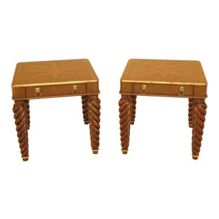 Modern Lineage Stunning 1 Drawer Mahogany & Leather End Tables- A Pair For Sale