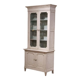 19th Century Louis XVI Painted Buffet Display Cabinet With Glass Doors For Sale