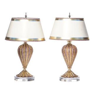 Purple Oro Mid-Century Murano Lamps - a Pair For Sale