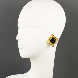 Edouard Rambaud Paris Signed Clip Earrings Gilt Metal Black Resin Cabochon Preview