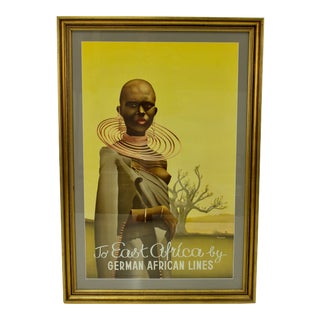 """Art Deco Vintage Travel Poster """"To East Africa by German African Airlines"""" For Sale"""