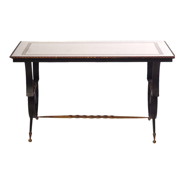 Vintage French Iron and Etched Mirrored Top Low Table For Sale