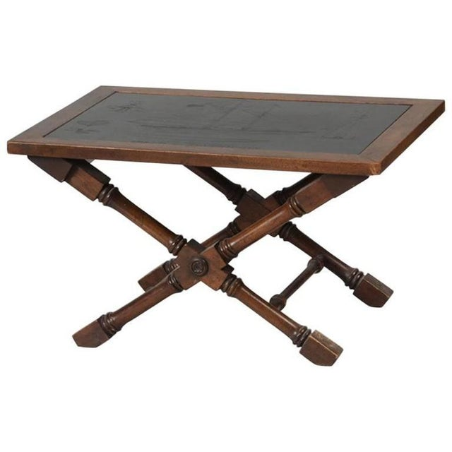 Slate Top Engraved With Clipper Ship Table For Sale - Image 4 of 4