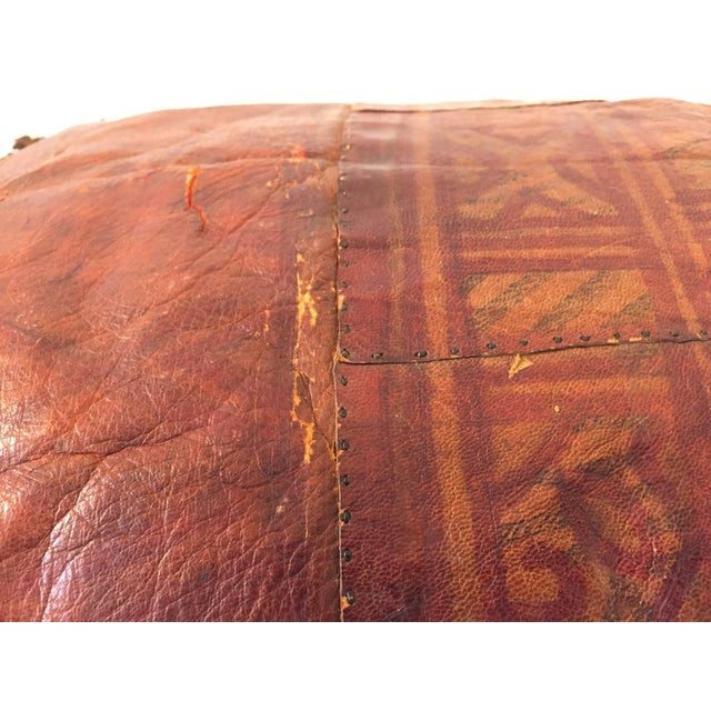 African Tuareg Leather Pillow With Fringes For Sale - Image 9 of 10