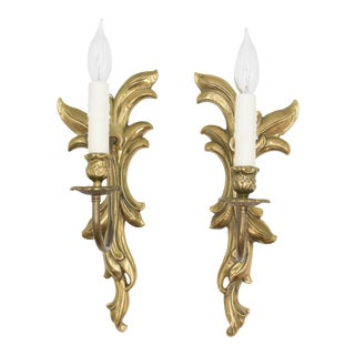 Antique French Gilt Bronze Light Sconces - a Pair For Sale