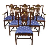 Image of Late 20th Century Maitland Smith Mahogany Chippendale Style Dining Chairs- Set of 6 For Sale