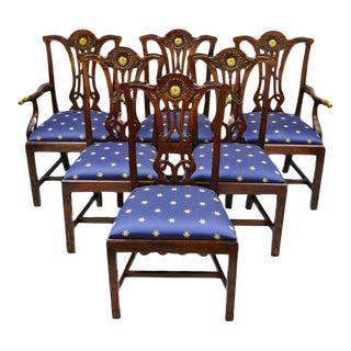 Late 20th Century Maitland Smith Mahogany Chippendale Style Dining Chairs- Set of 6 For Sale