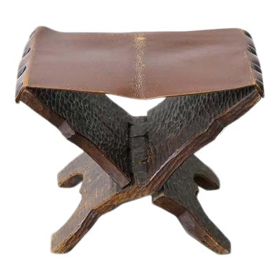Vintage Carved Wood and Leather Ottoman For Sale