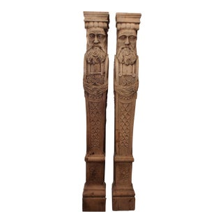 19th Century Carved Oak Wood Architectural Figures For Sale