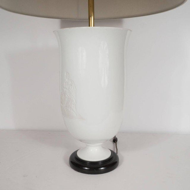 Brass French Art Deco White Glass Table Lamp and Uplight with Greco Roman Figures For Sale - Image 7 of 11