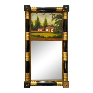 Early 20th Century Petite Federal-Style Mirror With Reverse Painting on Glass For Sale
