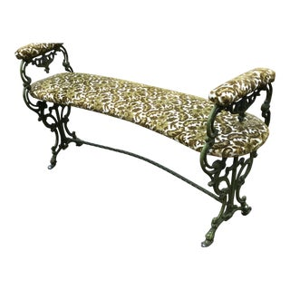 French Epoque Louis XVI Style Cast Iron Bench Stool For Sale