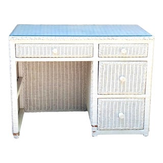 20th Century Cottage Glass Top White Wicker Writing Desk For Sale