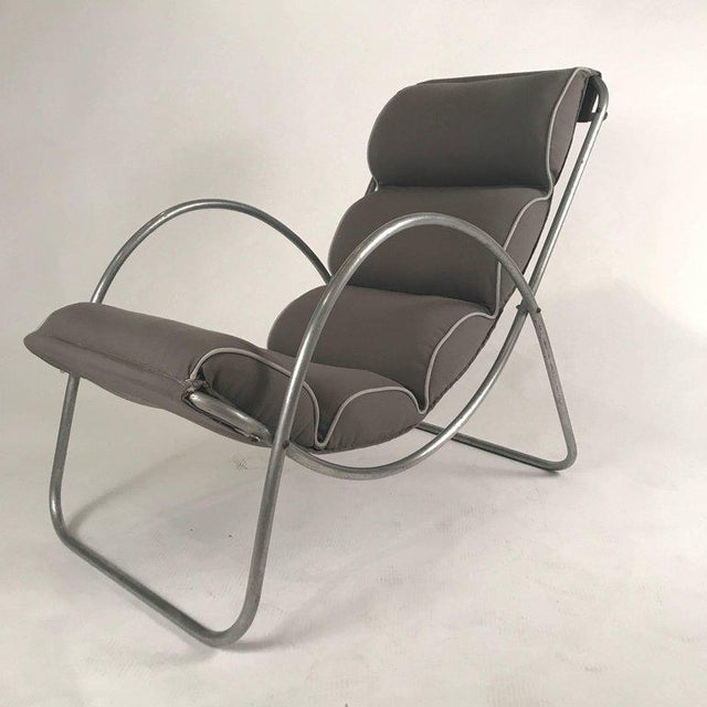 Metal Pair of Halliburton Lounge Chairs, 1930s Art Deco Machine Age Modernist Design For Sale - Image 7 of 10