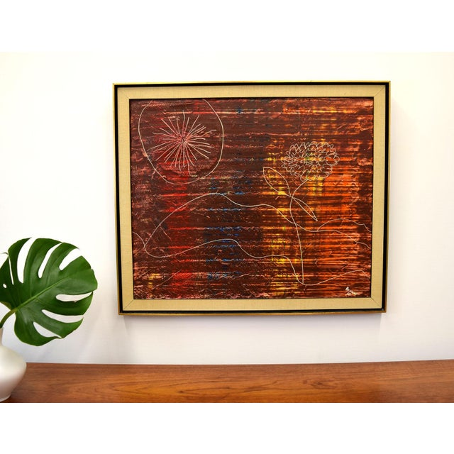 Wonderful modernist painting by painter A. Bennett, who was an advertising artist in Manhattan in the 1950s and 60s (a...