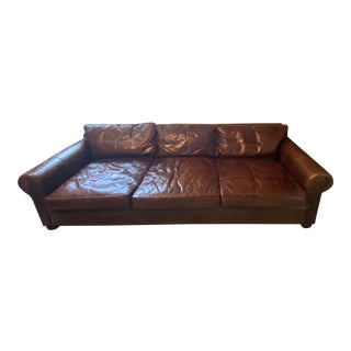 Restoration Hardware English Berkshire Leather Sofa For Sale