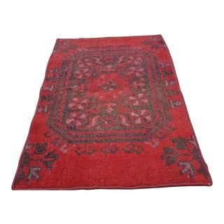 1970s Vintage Woven Turkish Small Welcome Floor Mat - 1′12″ × 2′9″ For Sale