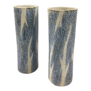 Contemporary Snake Print Vases - a Pair