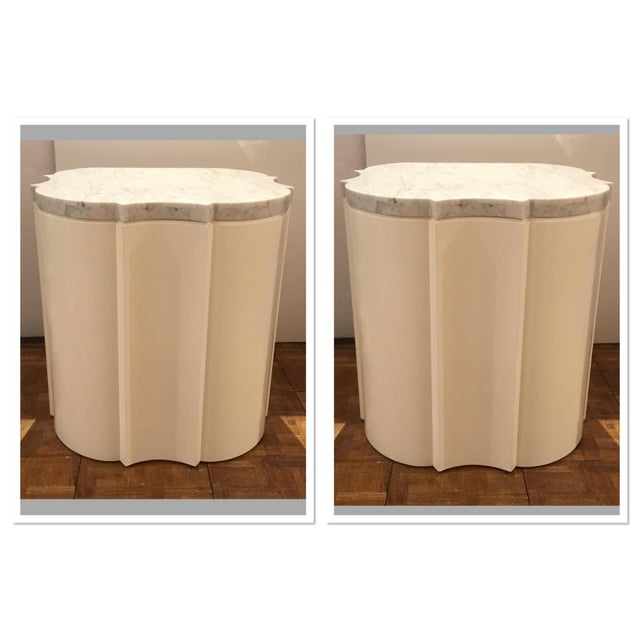 2010s Modern White Marble Quatrefoil Side Tables Pair Prototypes For Sale - Image 5 of 5