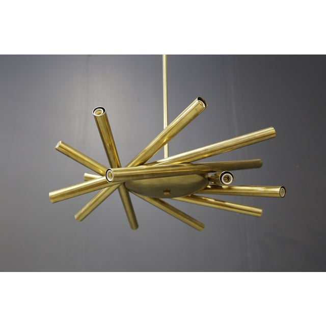 2020s Chandelier in Style Mid Century in Brass With Spokes, 2020s For Sale - Image 5 of 9