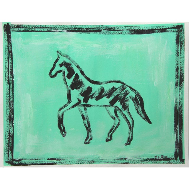 Shabby Chic Abstract Black Horse Painting on Sky Blue by Cleo Plowden For Sale - Image 3 of 5