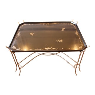 Iron Faux Bois Base, Painted Top With Gold Floral Crackle Glaze Finish Cocktail Table