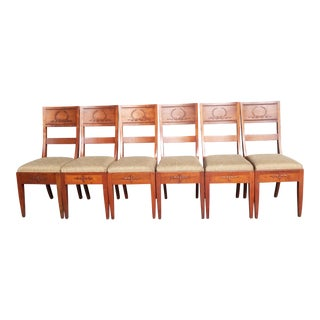1940s Traditional French Country Solid Wood Ornate Laurel Wreath Dining Chairs - Set of 6 For Sale