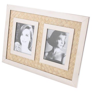 Italian Designer 1970s Modern Chrome & Straw Marquetry Picture Photo Frame For Sale
