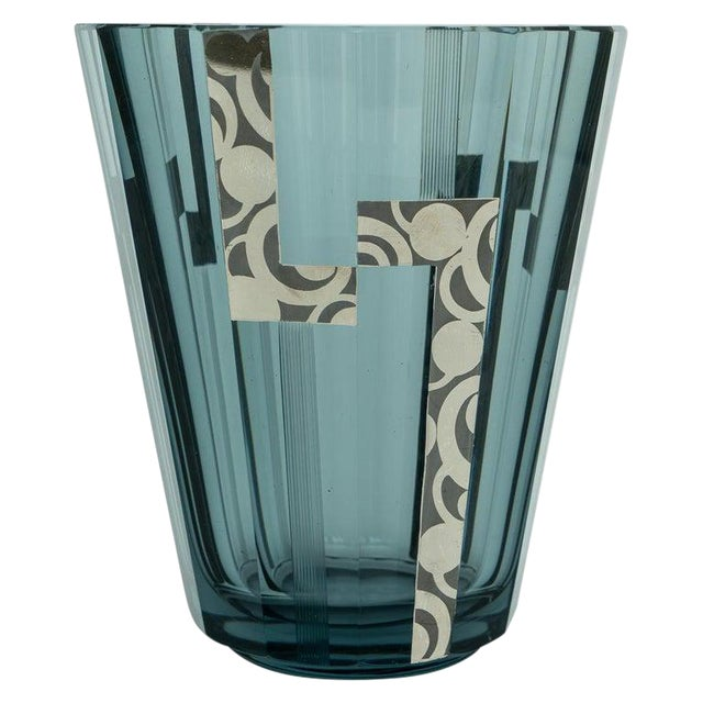 1920s Art Deco Crystal Vase With Silver Overlay For Sale