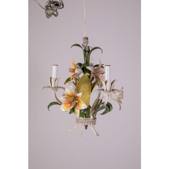 Madcap Cottage Tole Lily 3-Light Chandelier For Sale - Image 12 of 12