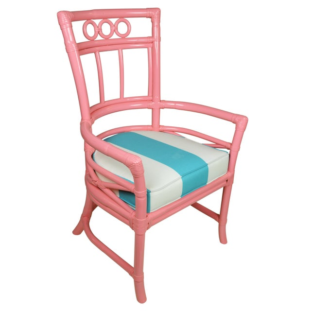 Ficks Reed Colony Pink Rattan Armchairs - a Pair - Image 3 of 7