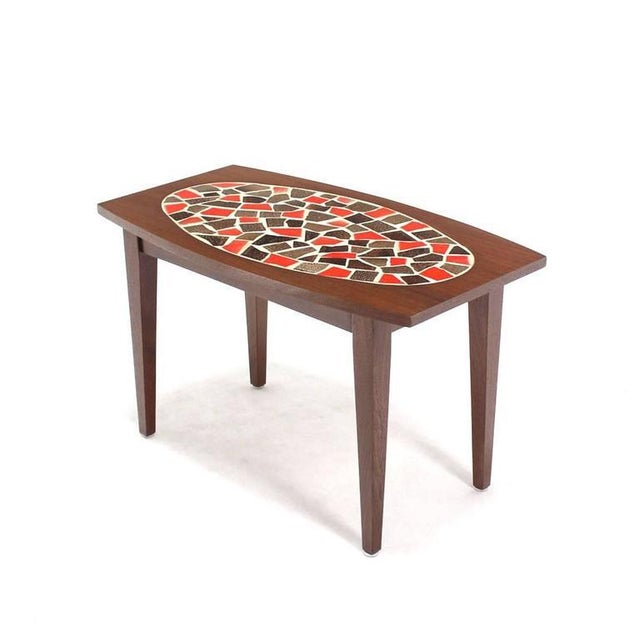Pair of Walnut and Tile Mosaic Side or End Tables For Sale - Image 4 of 8